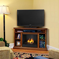 Real Flame 50.75-inch Oak Finish Gel Corner Fireplace