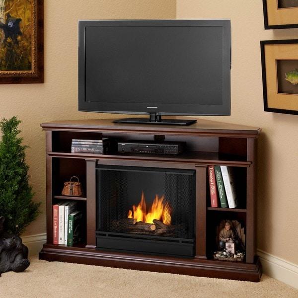 Real Flame Churchill Corner Dark Espresso Gel Fireplace