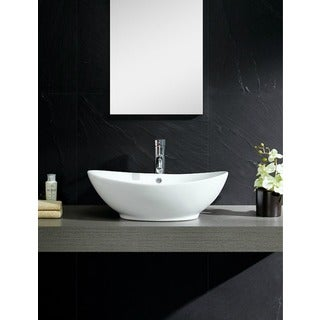 Fine Fixtures Vitreous-China White Vessel Sink with Curving Sides