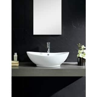 Clearance Fine Fixtures Vitreous China White Vessel Sink With Curving Sides