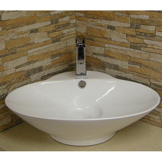 Fine Fixtures Oval Vitreous-China White Vessel Sink (Vitr...