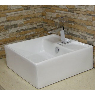 Fine Fixtures Vitreous-China White Vessel Sink with Deep Sides