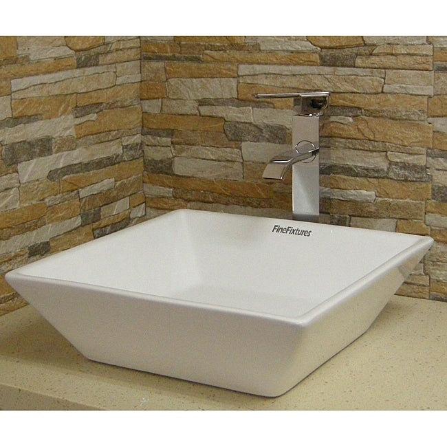 Fine Fixtures Square Vitreous-China White Vessel Sink - Thumbnail 0