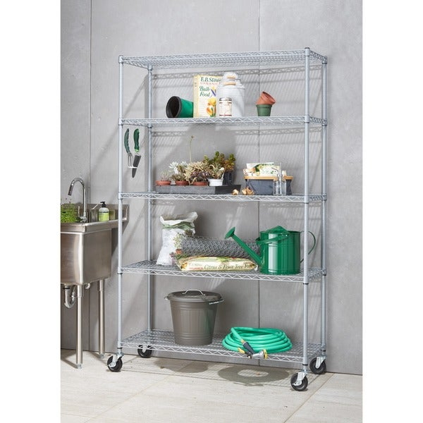 Trinity NSF Adjustable 5-tier Outdoor Wire Shelving Rack with Wheels