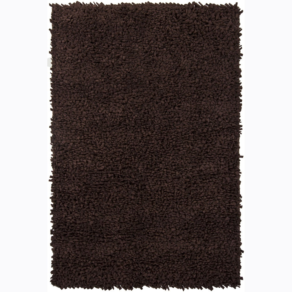 Handwoven Dark Brown Casual Mandara New Zealand Wool Shag Rug (9' x 13')