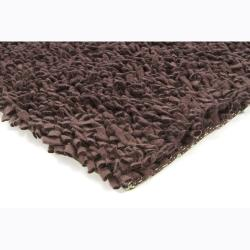 Handwoven Dark Brown Casual Mandara New Zealand Wool Shag Rug (9' x 13') - Thumbnail 1