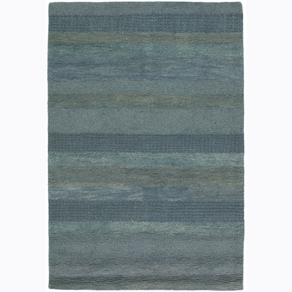 Artist's Loom Hand-tufted Contemporary Stripes Wool Rug (5'x7'6)