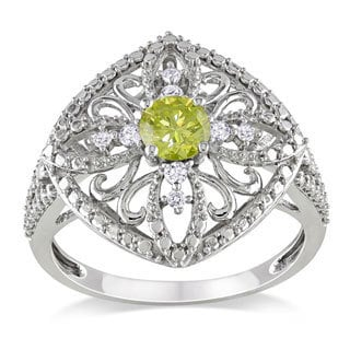 Miadora 10k White Gold 1/2ct TDW Yellow Diamond Ring