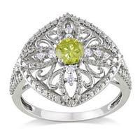 Miadora 10k White Gold 1/2ct TDW Yellow Diamond Ring