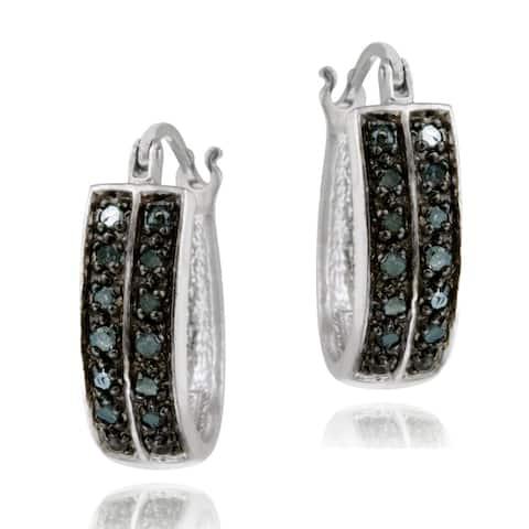 DB Designs Sterling Silver 1/4ct TDW Blue Diamond Cuff Hoop Earrings