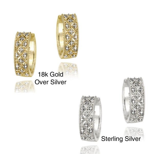DB Designs 18k Gold over Sterling Silver Diamond Accent Cuff Earrings