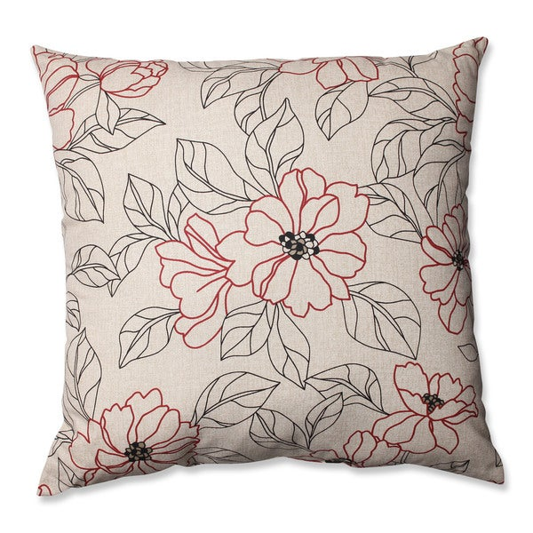Pillow Perfect White/ Red Square Floral Throw Pillow