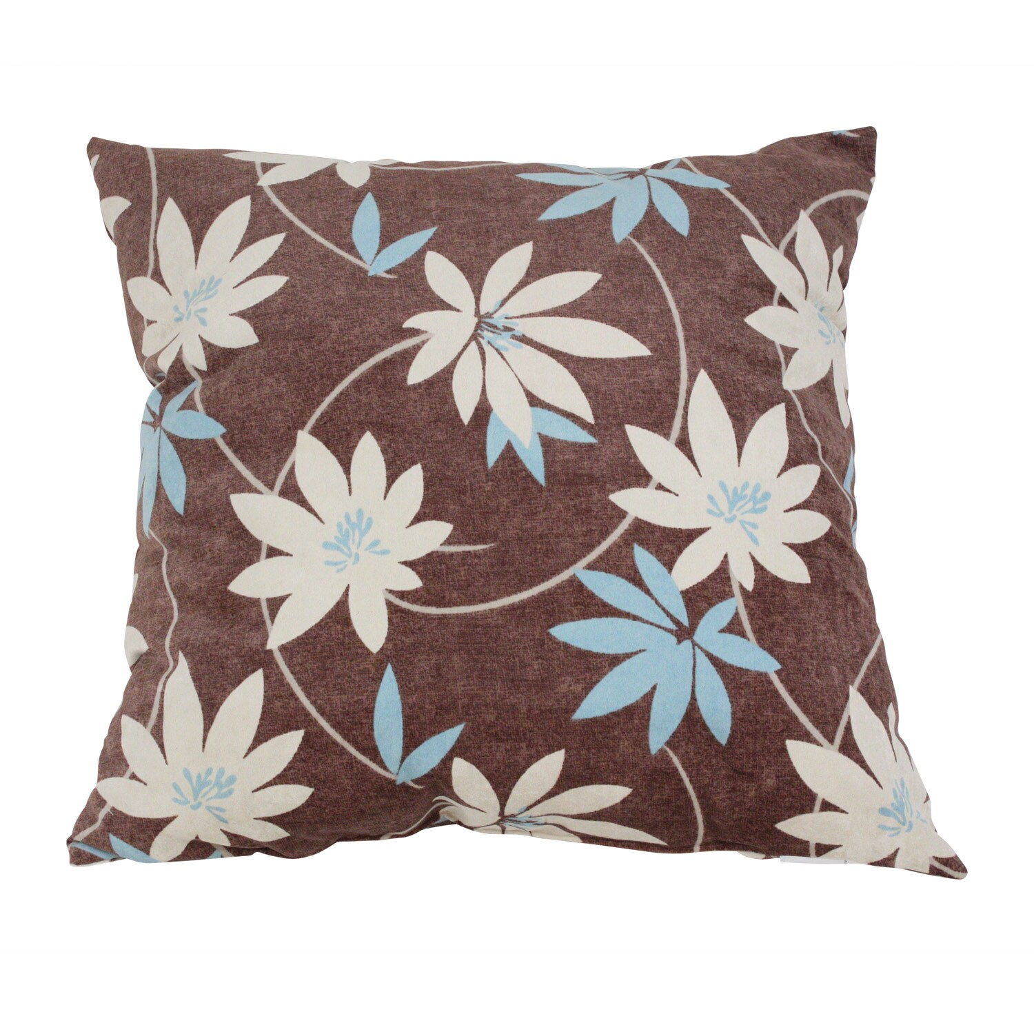 Pillow Perfect Brown Floral Flocked Polyester Throw Pillow