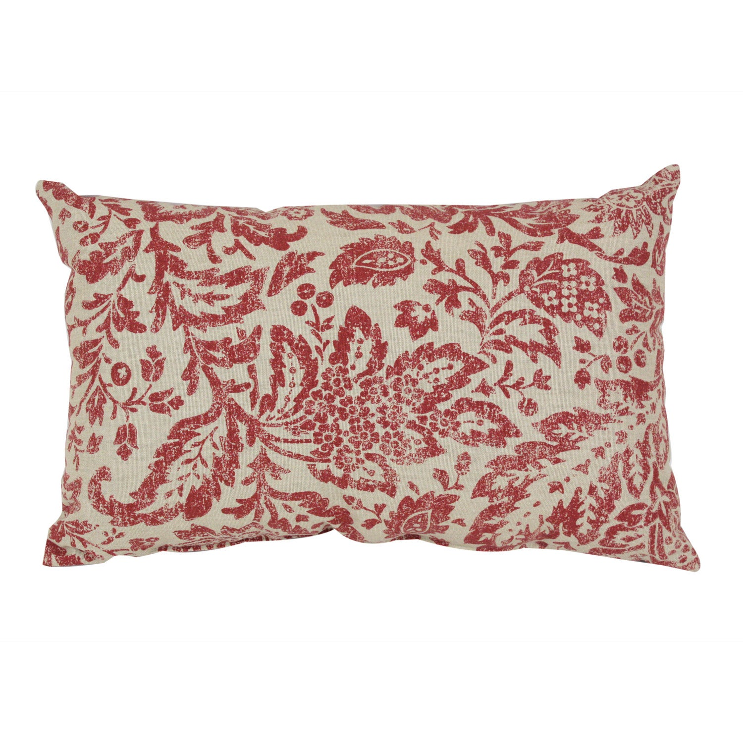 Pillow Perfect Red/ Tan Damask Throw Pillow