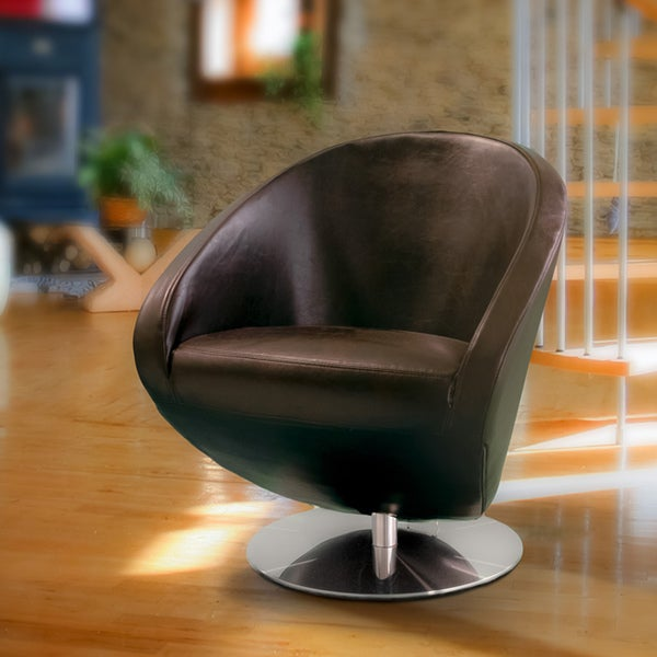 Modern Brown Leather Roundback Chair by Christopher Knight Home