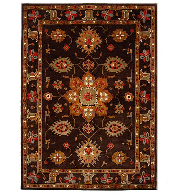 Hand-Tufted Tempest Dark Brown/Tan Oriental Area Rug (8' x 11')