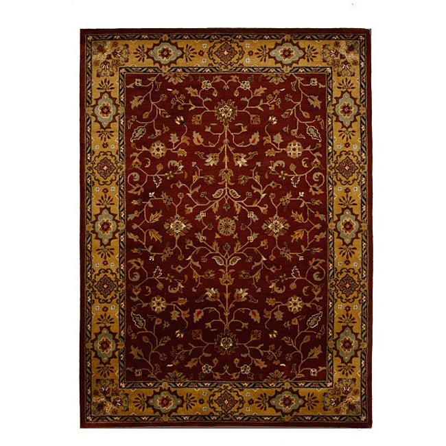 Hand-Tufted Tempest Dark Red/Gold Area Rug (8' x 11')