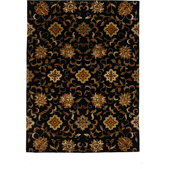Shop Hand Tufted Tempest Black Gold Oriental Area Rug 8 X 11