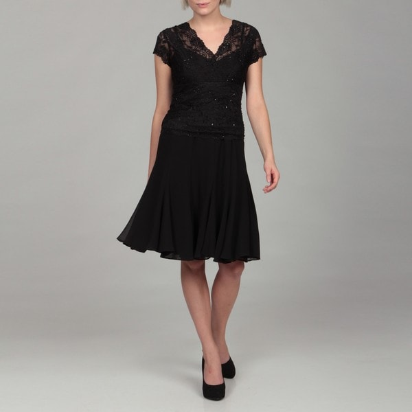 KM Collections Women's Black Beaded Lace Dress
