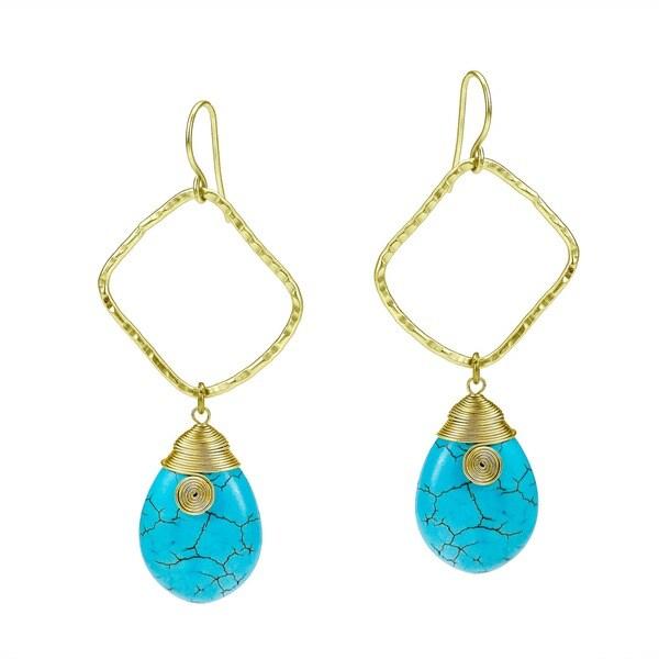 Blue Turquoise Teardrop Fascination Brass Earrings (Thailand)