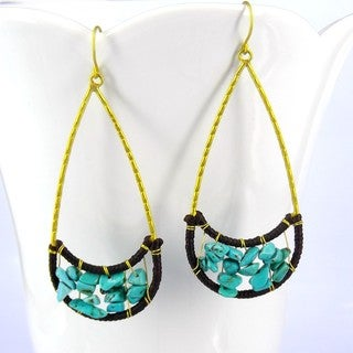 Lovely Moon Smile Blue Turquoise Stone Brass Earrings (Thailand)