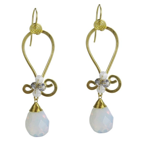 Handmade Ethereal Facets Glass Moonstone Crystal Brass Earrings (Thailand)