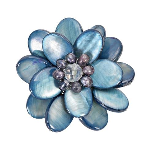 Handmade Blue Mother of Pearl Sweet Azalea Floral Pin Brooch (Thailand)