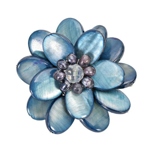 Handmade Blue Mother of Pearl Sweet Azalea Floral Pin Brooch (Thailand)