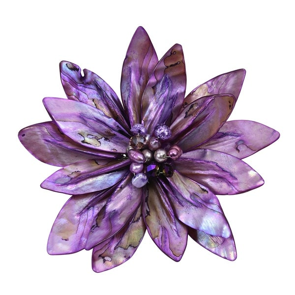 Handmade Pretty Fuschia Water Lily Mother of Pearl Pin-Brooch (Thailand). Opens flyout.