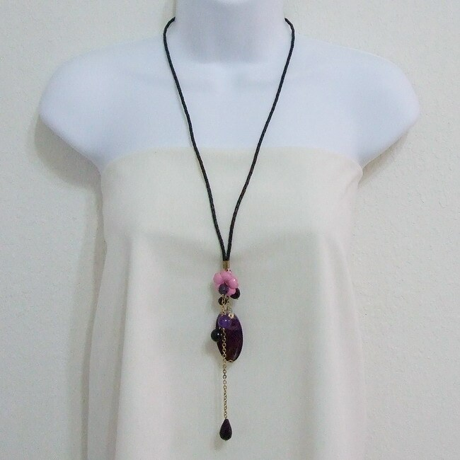 Purple Agate Teardrop Pink Floral Heart Leather Necklace (Thailand)