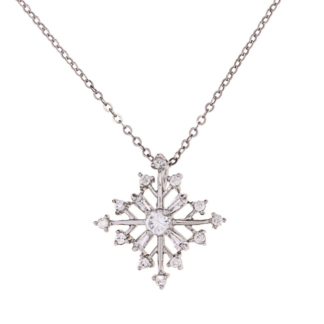 La Preciosa Sterling Silver CZ Snowflake Necklace, Women'...