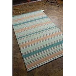 Flat Woven Blue Wool Rug (10' x 14')