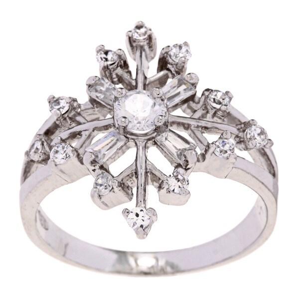 La Preciosa Sterling Silver CZ Snowflake Ring