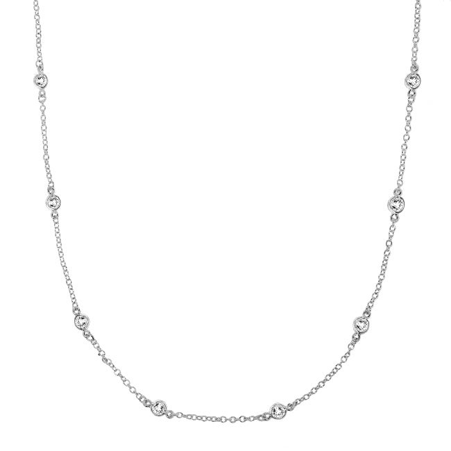 Sterling Silver Clear Cubic Zirconia 36-inch By-the-yard Necklace