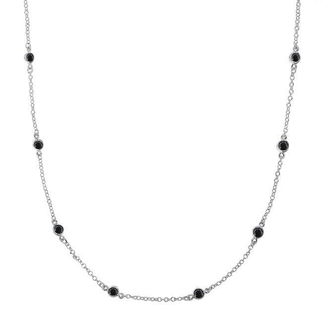 Sterling Silver Black Cubic Zirconia 24-inch By-the-yard Necklace
