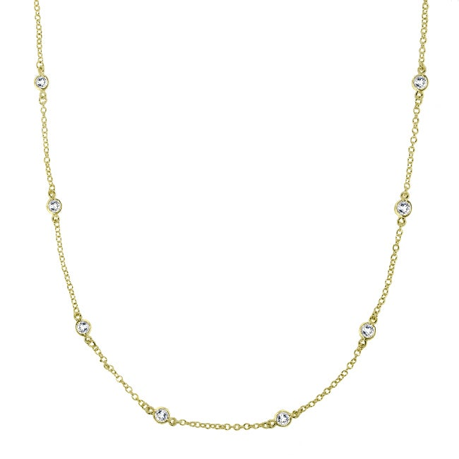 16-Inch 14k Gold-over-Silver Cubic Zirconia Necklace