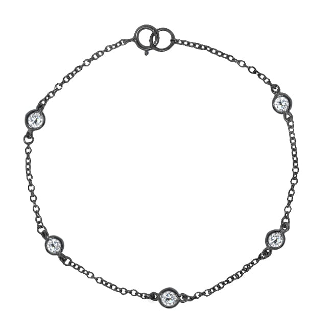 Sterling-Silver Round-Cut Cubic Zirconia 7-Inch By-the-Yard Bracelet
