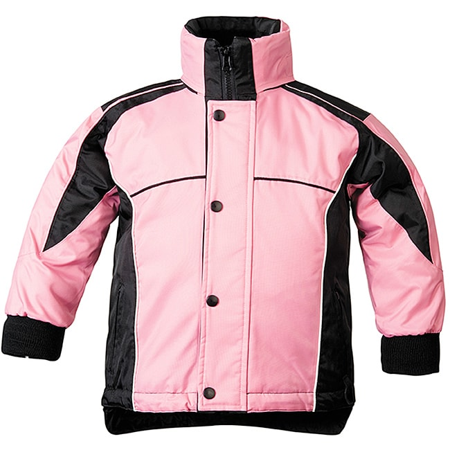 Sledmate Youths' Pink/Black Fleece-lining Drawstring-hem Jacket - Thumbnail 0