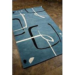 Hand-Tufted Blue Wool Rug (8' x 11)