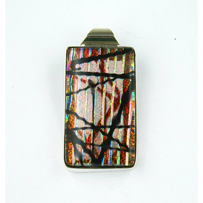 Sterling Silver Red Dichroic Glass Pendant