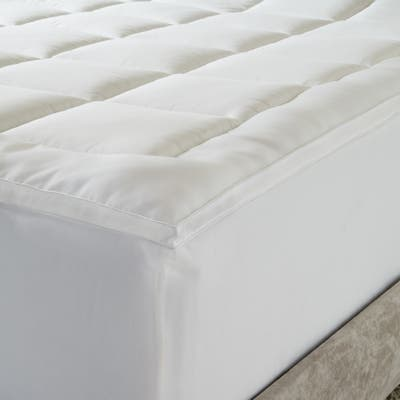 Microfiber Baffled Box Twin/ Full-size Fiber Bed Topper with Skirt - White