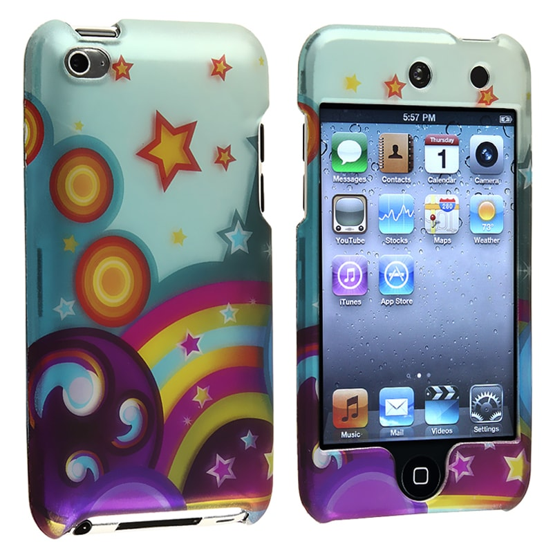 INSTEN Star Rainbow Snap-on Rubber Coated iPod Case Cover for Apple iPod Touch 4th Gen