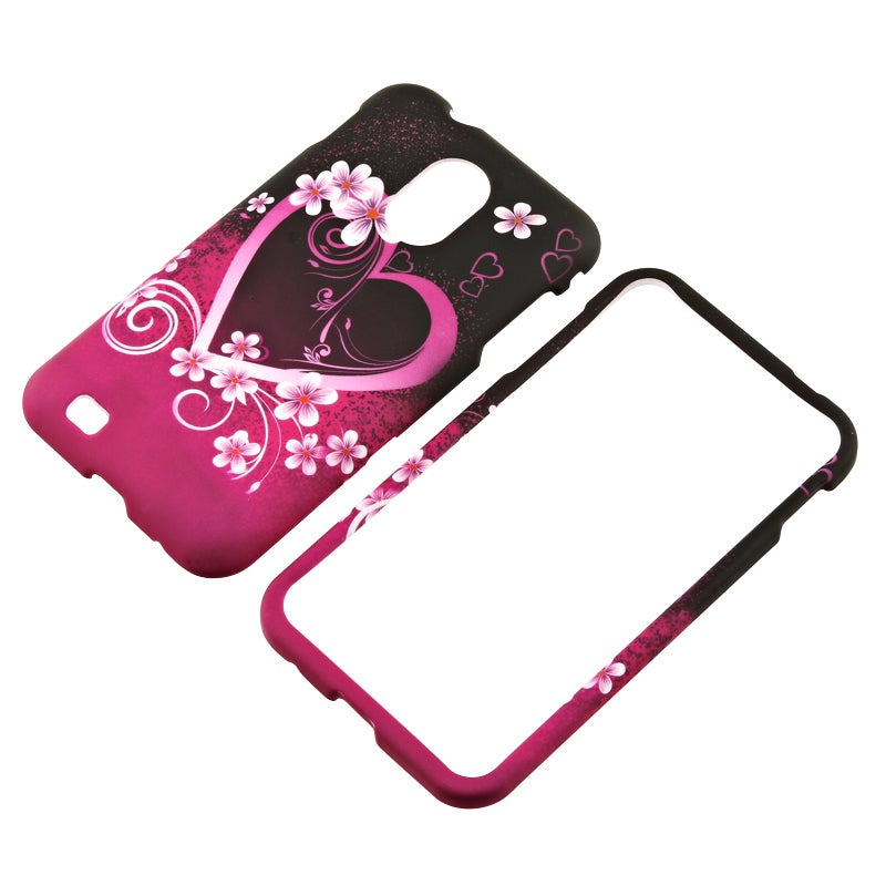 INSTEN Hot Pink Heart Flower Snap-on Rubber Coated Phone Case Cover for Samsung Epic 4G