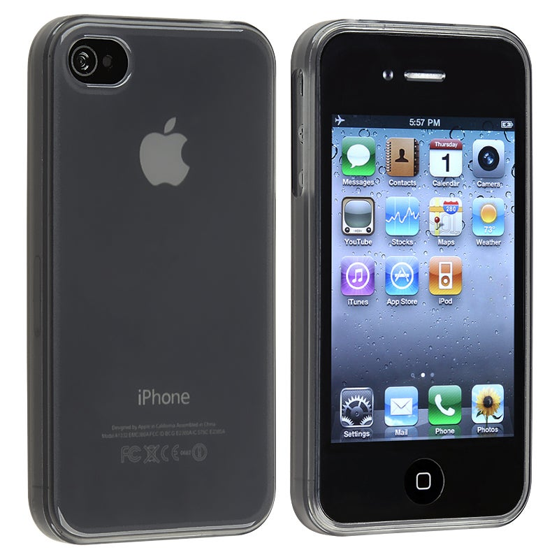 Clear Frost Smoke TPU Rubber Skin Case for Apple iPhone 4/ 4S - Thumbnail 0