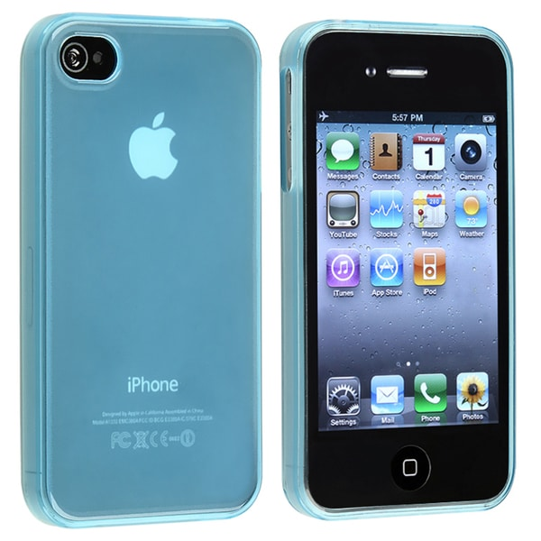 INSTEN Clear Frost Light Blue TPU Rubber Skin Phone Case Cover for Apple iPhone 4/ 4S