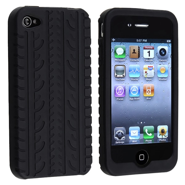 Black Tire Tread Silicone Skin Case for Apple iPhone 4/ 4S