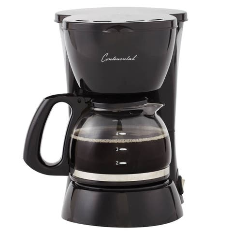 Continental Electric 4-Cup Coffee Maker Black