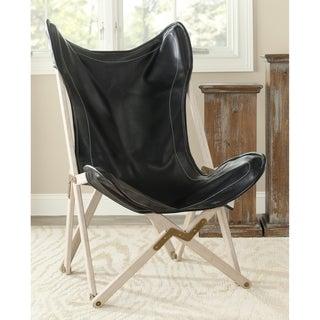 Safavieh Butterfly Black Bi-Cast Leather Folding Chair