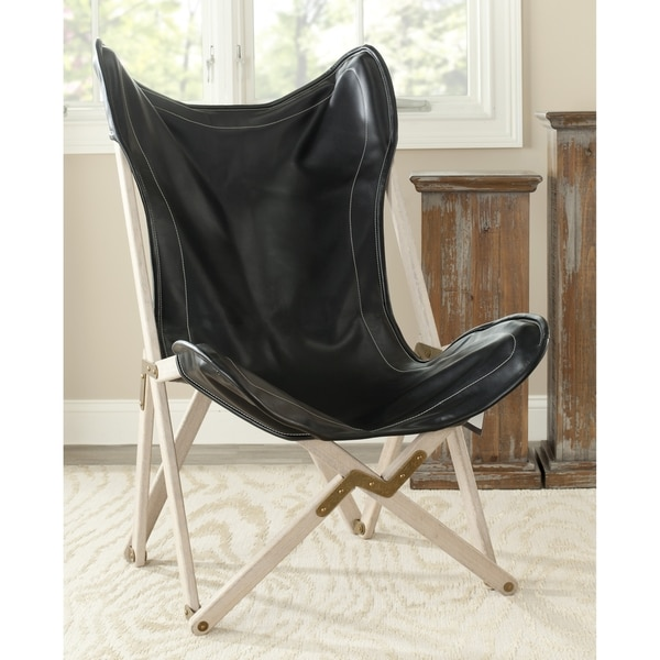 Safavieh Butterfly Black Bi-Cast Leather Folding Chair