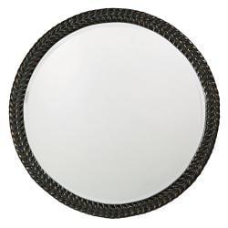 Amalie Black Herringbone Round Mirror